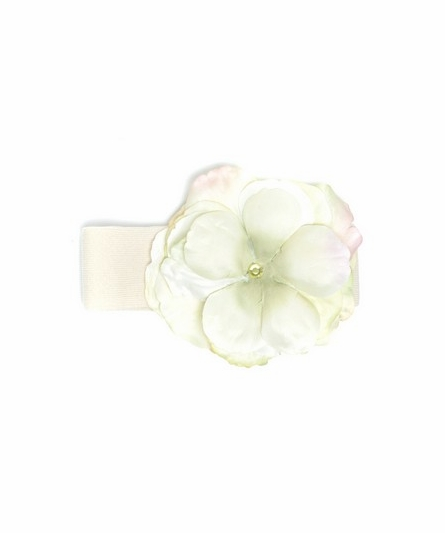 Cream and Green Rose Soft Headband