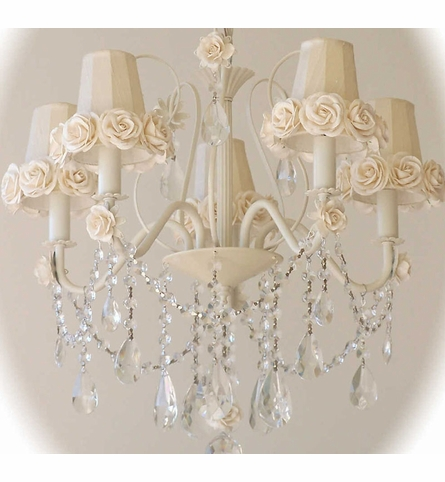 Cream Chandelier Shade with Roses