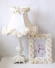 Cream Dupioni Silk and Roses Table Lamp