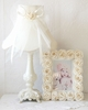 Cream Dupioni Silk and Tulle Table Lamp