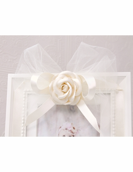 Cream Tulle Bow Picture Frame