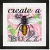 Create a Buzz - Pink Framed Art Print