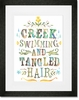 Creek Swimming and Tangled Hair Framed Art Print