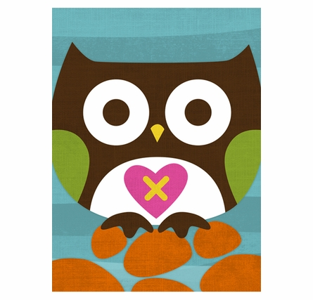 Cross My Heart Owl Canvas Reproduction