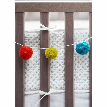 Cross Stitch Crib Bumper in Cornflower