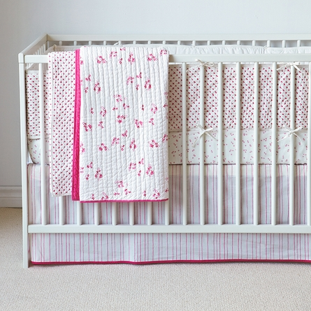 Cross Stitch Crib Bumper in Pink
