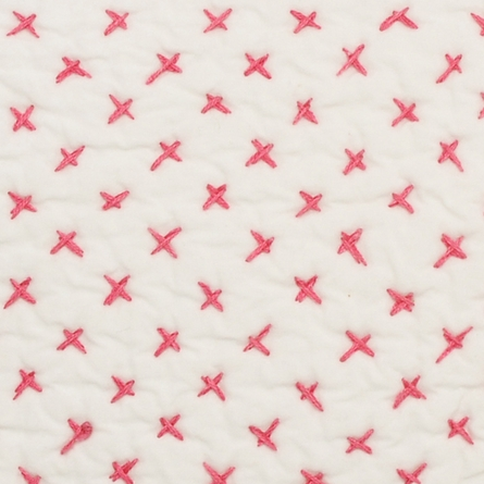 Cross Stitch Quilted Decorative Pillow Cover in Pink