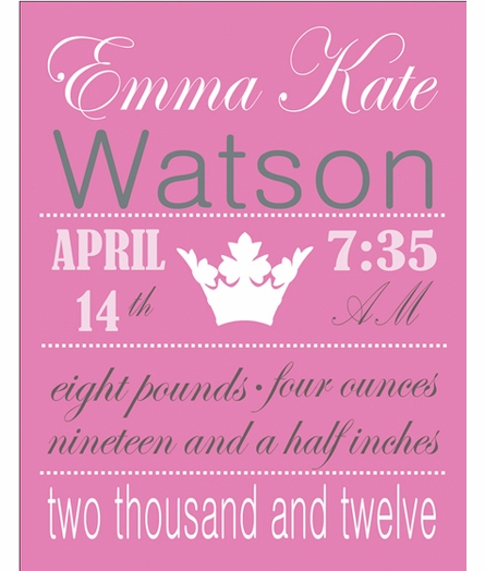 Crown Birth Announcement Framed Art