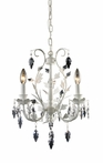 Crystal Leaf Three Arm Chandelier in Antique White