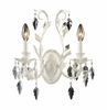 Crystal Leaf Two Arm Sconce in Antique White