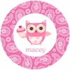 Cupcake Owl Personalized Melamine  Plate
