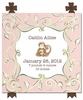 Curious Monkey Canvas Birth Announcement in Angelique Petal