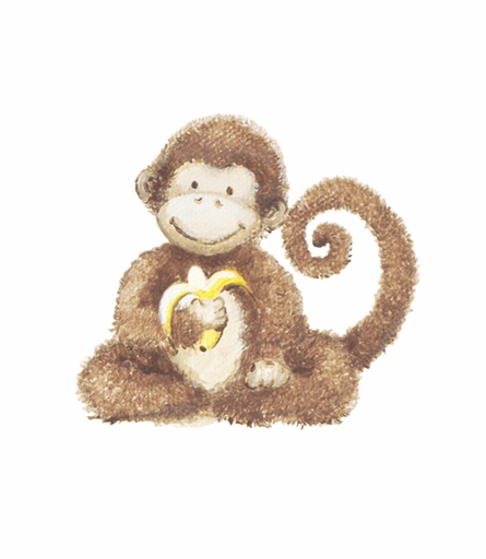 Curious Monkey Canvas Birth Announcement in Sage Vine and Coco