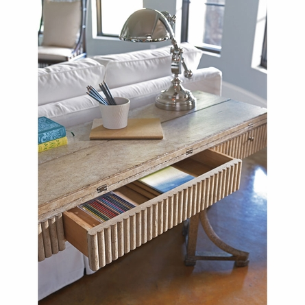 Curl Tide Flip Top Table in Sandy Linen