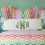 Custom Applique Monogram Lumbar Pillow Sham