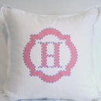 Custom Applique Monogram Throw Pillow Sham