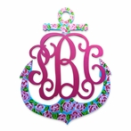 Custom Hand Painted Floral Anchor Wall Monogram