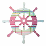 Custom Hand Painted Pastel Plaid Ship Wheel Wall Plaque