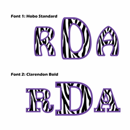 Custom Zebra Letter Monogram in Purple Wall Stickers