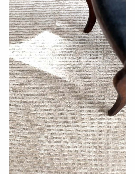 Cut Stripe Hand-Knotted Rug in Ivory