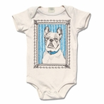 Cyan Organic Cotton Framed French Bulldog Original Print Onesie