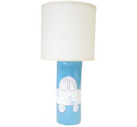 Cylinder Lamp in Blue Car Silhouette