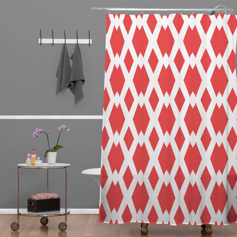 Grey And Coral Shower Curtain Italian Coral Seersucker Sh
