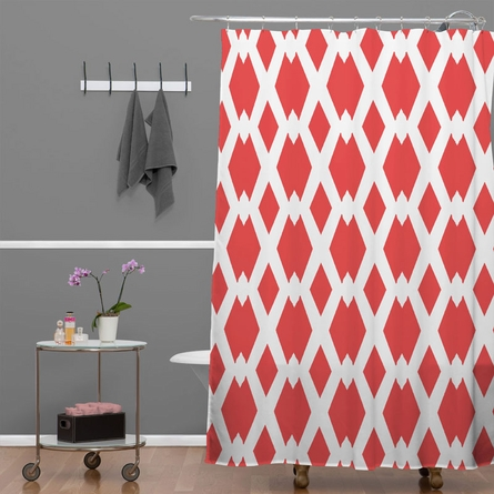 Daffy Lattice Coral Shower Curtain