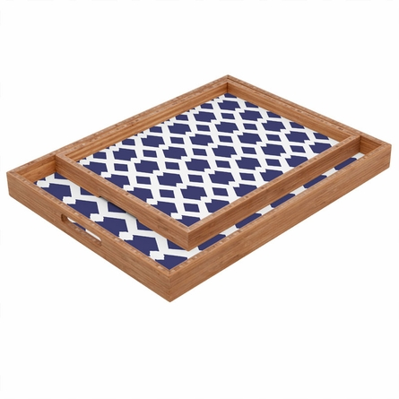 Daffy Lattice Navy Rectangle Tray