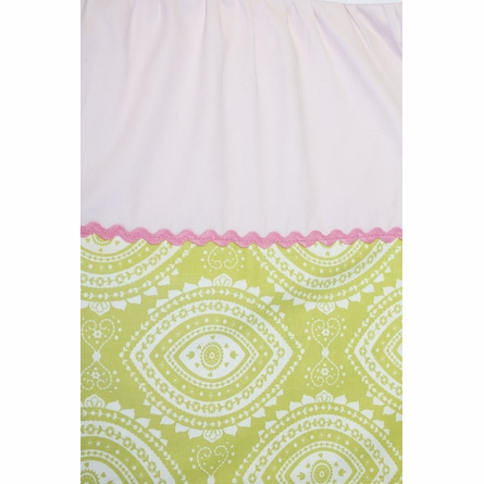 Damask and Pink Twill Crib Skirt