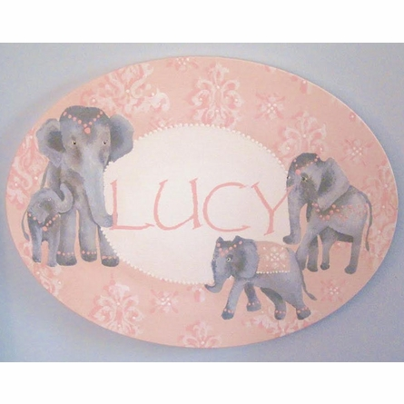 Damask Elephants Personalized Hand Painted Canvas Wall Art
