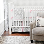 Damask Girls Crib Bedding
