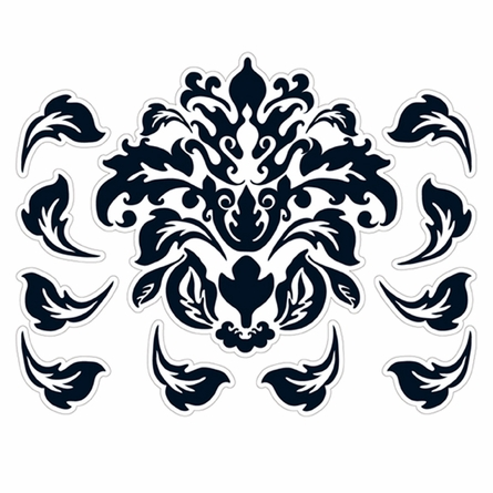 Damask Pattern in Black Wall Sticker