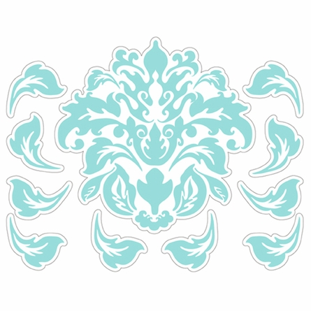 Damask Pattern in Blue Wall Sticker