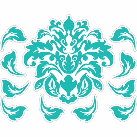 Damask Pattern in Teal Wall Sticker