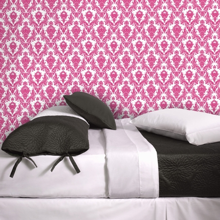 Damsel White and Fuchsia Removable Wallpaper