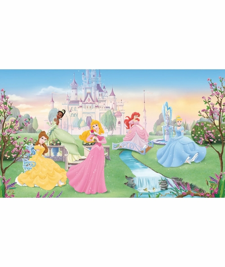 Dancing Princess Chair Rail Prepasted Wall Mural