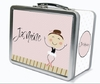 Dark Brown Hair Ballerina Personalized Lunch Box