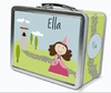 Dark Brown Hair Princess Personalized Lunch Box