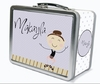 Dark Brown Hair Tap Dancer Personalized Lunch Box