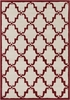 Davin Elegant Lattice Rug in Ivory and Crimson