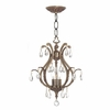 Dawson Three Light Clear Crystal Brass Mini Chandelier