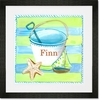 Day at the Beach - Lime and Turquoise Framed Art Print