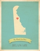 Delaware My Roots State Map Art Print - Blue
