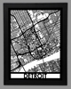 Detroit Framed City Map