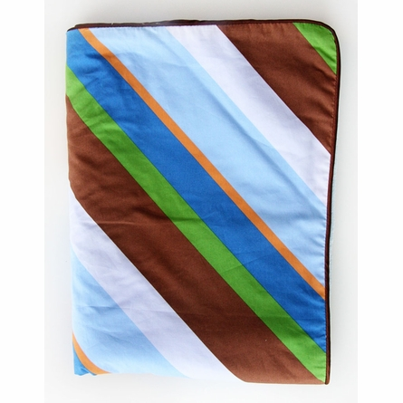 Diagonal Stripe Piped Baby Blanket