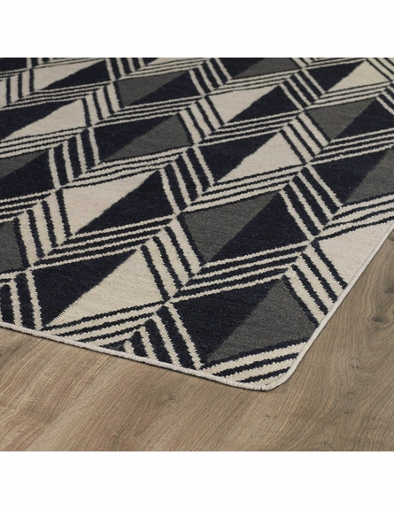 Diamonds and Stripes Nomad Rug in Black