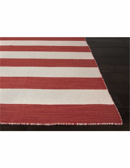 Dias Striped Rug in Mars Red