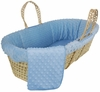 Dimple Velour Moses Basket Set in Blue