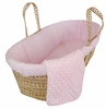Dimple Velour Moses Basket Set in Pink